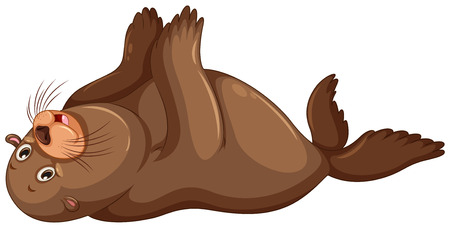 flapping: Sea lion flapping hands illustration