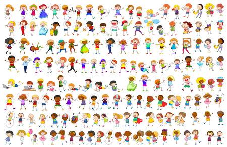 personajes sencillos en diferentes acciones ilustración Ilustración de vector