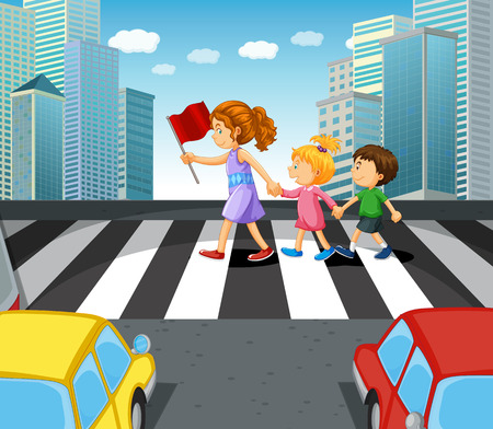 People crossing stree in the city illustration