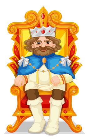 trono: Rey sentado en el trono de la ilustración