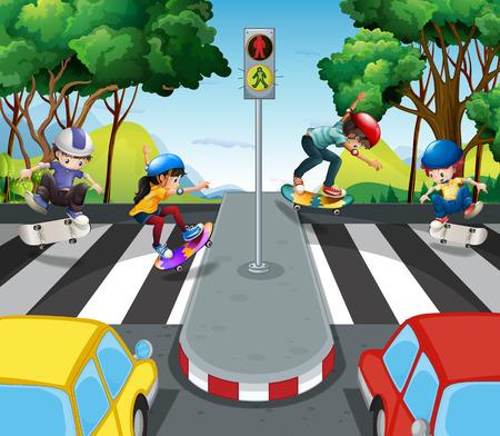 outdoor lights: Children skateboarding across the road illustration