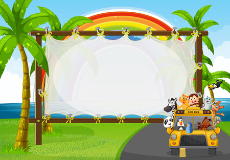 SEA  LANDSCAPE: Frame design with animals on zoo bus illustration