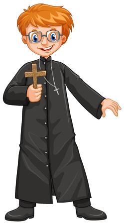 prete cristiano holding illustrazione croce