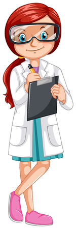 female scientist: Female scientist recording experiment illustration Illustration