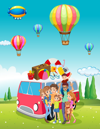 family trip: Family trip and balloons flying illustration