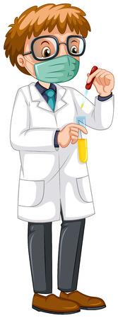 experiments: Male scientist doing experiment illustration