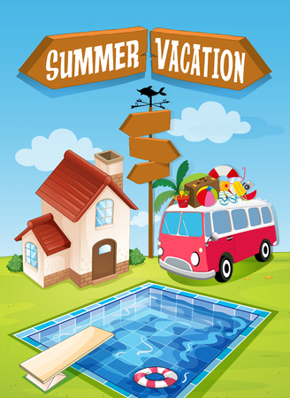 summer sign: Summer vacation sign with van and pool illustration Illustration