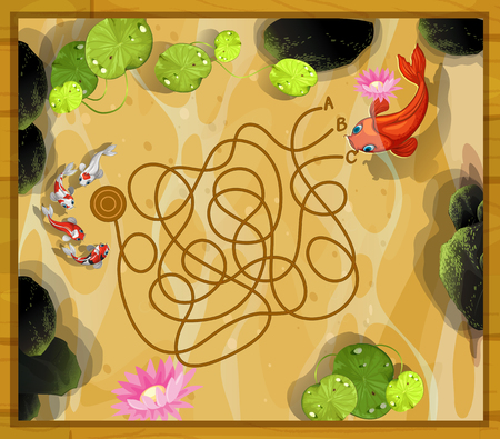 garden pond: Game template with two fish in the pond illustration Illustration