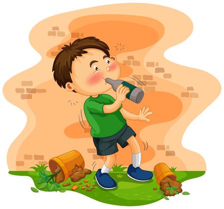 alcoholism: Little boy getting drunk illustration Illustration