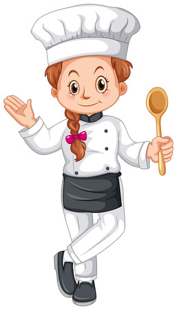 Female chef in uniform illustration