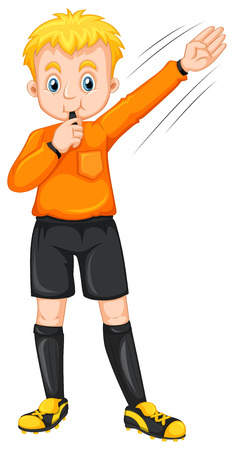blowing: Referee blowing whistle and making gesture illustration