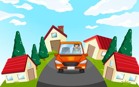 car driving: Man driving car in the neighborhood illustration Illustration