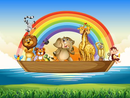 wild living: Wild animals riding on rowboat illustration Illustration