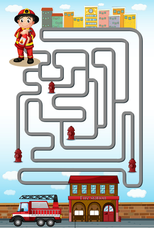 Maze game with fire fighter and station illustration