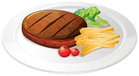 stake: Steak and fries on the plate illustration
