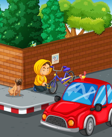 stealing: Man stealing bike at the road corner illustration