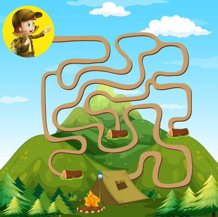 camping site: Game template with girl and camping site illustration Illustration