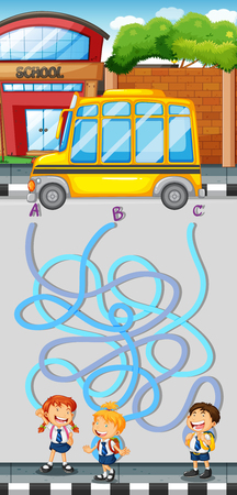 maze game: Maze game with students and school bus illustration Illustration