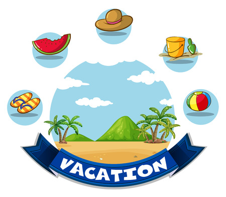sandles: Vacation banner with beach and toys illustration