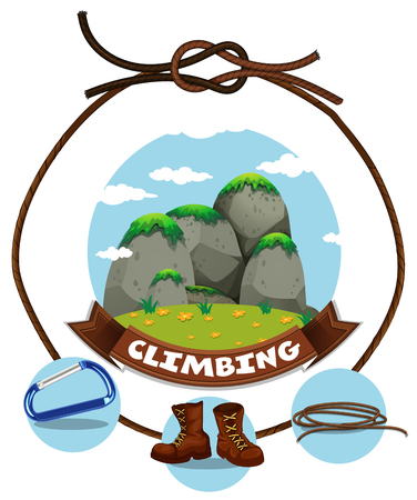 footware: Climbing sign and moutain view illustration