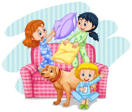 slumber party: Three girls playing pillow fight on sofa illustration Illustration