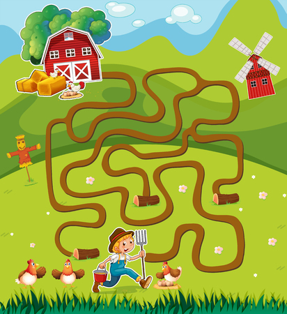 farmyard: Game template with farmer in the farmyard illustration