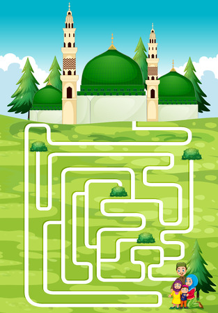mosque illustration: Maze game with people and mosque illustration