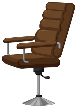 office supply: Arm chair with brown leather illustration