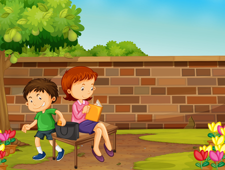 stealing: Boy stealing woman wallet in the park illustration Illustration