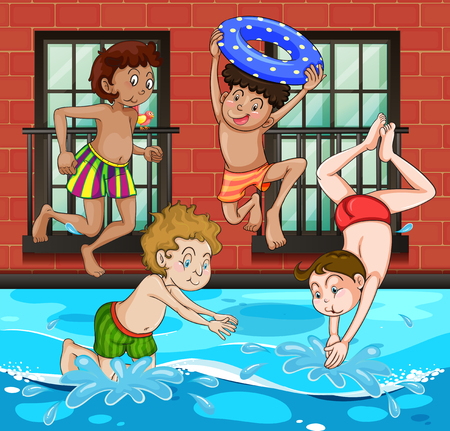 adolescent boy: Boys diving and swimming in the pool illustration Illustration
