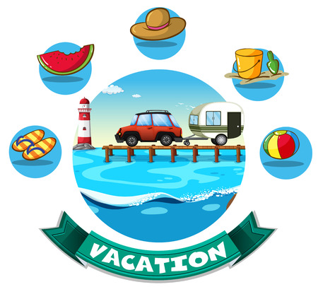sandles: Vacation theme with wagon and beach objects illustration