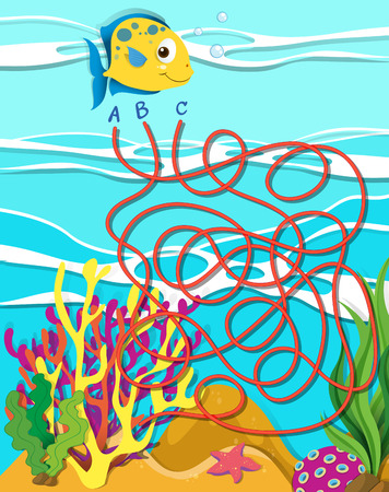 game fish: Game template with fish and coral reef illustration Illustration