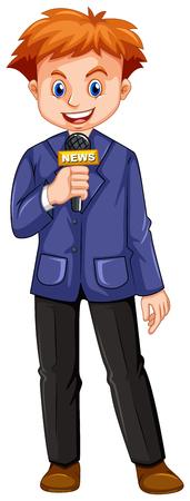 reportero: Reportero habla en el micr�fono ilustraci�n Vectores