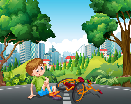 accident: Boy falling off the bike on the street illustration