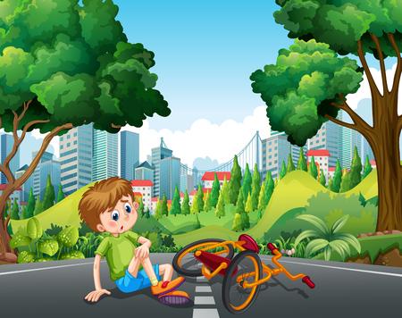 Boy falling off the bike on the street illustration
