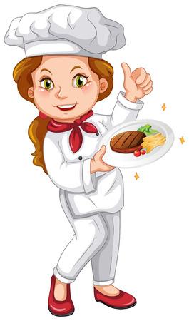 Female chef holding signature dish illustration
