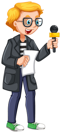 news reporter: News reporter holding script and microphone illustration