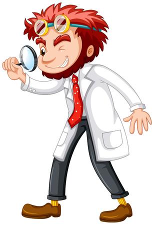 bata blanca: científico loco con lupa vidrio ilustración Vectores