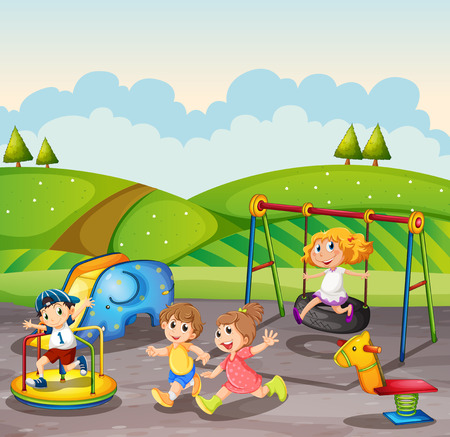 adolescent boy: Children playing in the playground at daytime illustration
