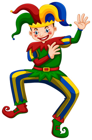 jester: Jester with happy face dancing illustration Illustration