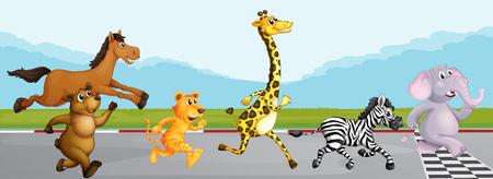 race horse: Wild animals running in race illustration