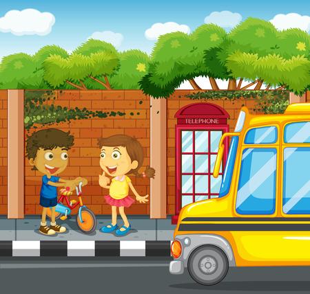 sidewalk: Children hanging out on the sidewalk illustration