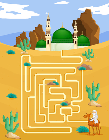 islamic scenery: Maze game template with mosque background illustration