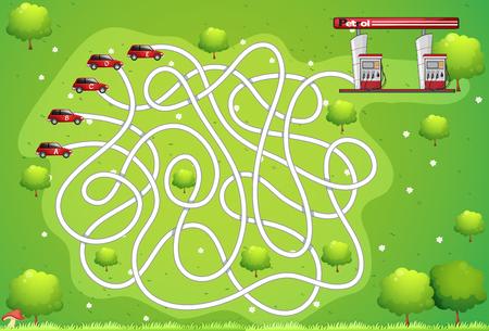 Spiel-Vorlage mit dem Auto und Tankstelle Illustration Standard-Bild - 55933186