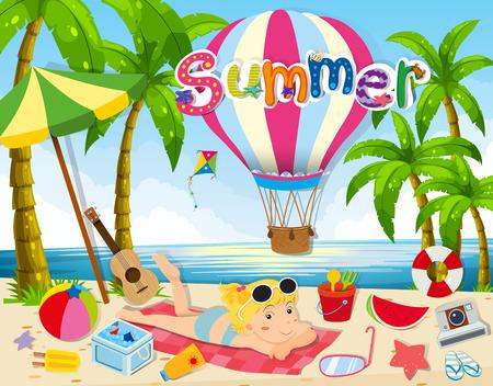 watermelon woman: Summer theme with woman in bikini on beach illustration Illustration