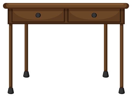table decor: Wooden table with drawers illustration