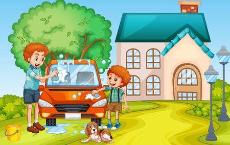 child drawing: Dad and son washing car at home illustration Illustration