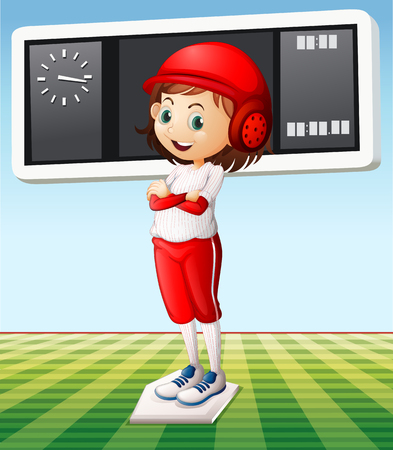 outfit: Girl in baseball outfit in the field illustration