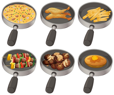 frying pan: Different food in the frying pan illustration