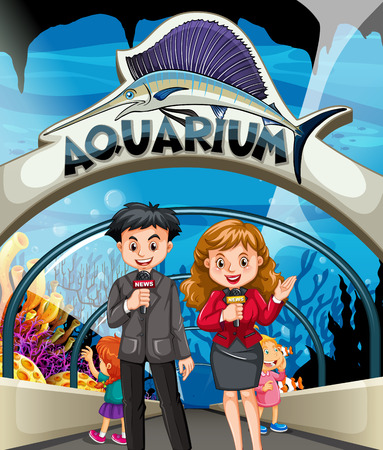 reporters: Reporters doing story at the aquarium illustration